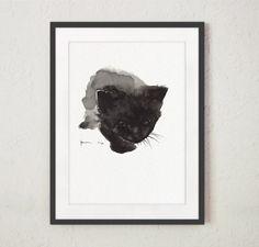 Negro arte impresión del gato, pintura acuarela gato, decoración de la pared del gato, retrato del gato de encargo, gatos pintura, decoración del hogar negro