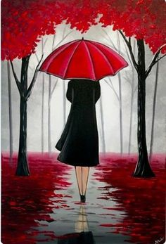 A stunning painting that will look amazing on any wall. A lady walks through the enchanted looking red woods underneath her umbrella. Various shades of greys highlight the distant trees and works beautiful with the redness of the umbrella and the leaves s Cool Art Drawings, Pencil Art Drawings, Art Drawings Sketches, Oil Pastel Drawings, Beautiful Drawings, Beautiful Pictures, Umbrella Painting, Umbrella Art, Drawing Umbrella