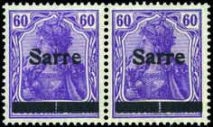 "Saar 1945-1956. 60 pf. lilac on purple. Pair. Bars broken including one ""S"" broken (Michel 1 PFSII). Very Fine."