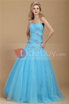 A-Line Sweetheart Floor-Length Beading Dasha's Prom Ball Gown Dress : Tidebuy.com