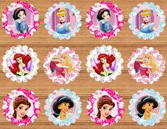 INSTANT DOWNLOAD Printable Disney Princess Cupcake by NhelyDesigns
