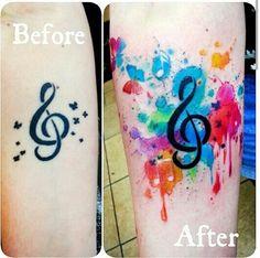 Music! Watercolor tattoo by Joanne Baker