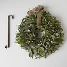 Cedar & Eucalyptus Holiday Wreath with Burlap Ribbon