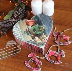 Christmas heart box wooden gift box set with christmas tree