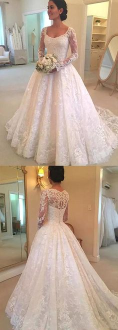 Lace Ball Gown Wedding Dress With Long Sleeves , Fashion Bridal Dress