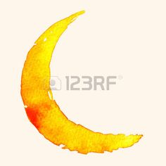 Crescent moon of painting with watercolor on paper Stock Vector