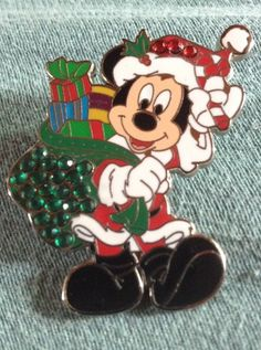 1749fddf49995 Disney pin Santa Mickey Mouse with Sack of Presents Jeweled Red and Green   65931