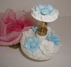 Vtg IRICE Blue White Floral Porcelain Perfume Bottle Collectible Vanity Decor in Collectibles, Vanity, Perfume & Shaving, Perfumes, Decorative Glass/Crystal | eBay