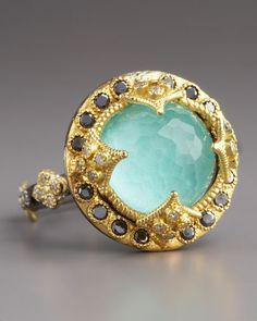 green turquoise and black diamond ring