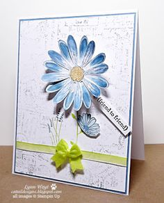 Cattail Designs: More Daisies, GDP#092 Stampin Up, Daisy Delight bundle, Post script background stamp,