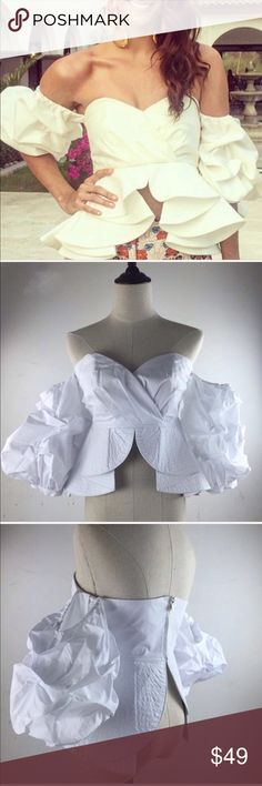 """OFF SHOULDER TOP RUFFLED WHITE 🆕 Off the shoulder sweetheart neckline. Half puff sleeves. Ruffled Peplum waist. Exposed back zip. NWT  Size: M  Bust: 35"""" inches approx.,   Length: 16"""" inches approx.   Material: Cotton, polyester  PLEASE, ASK ALL THE QUESTIONS THAT YOU HAVE!!  BEFORE YOUR MAKE THE PURCHASE. Feel free to make my a REASONABLE Offer!💕.  I will ship it send day/next day.📫🎁 Tops"""