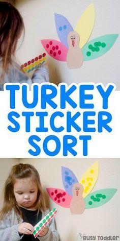 Turkey Sticker Sort - Busy Toddler