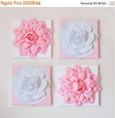 SALE Nursery Wall Decor SET OF Four Light Pink and by bedbuggs