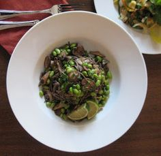 Edamame, Soba Noodles with Wild Mushrooms -American Vegetarian by Holly Kirby