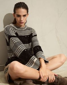 Dazzling sweater (211MBA380600) for Woman | Brunello Cucinelli Stockinette, Brunello Cucinelli, Needle And Thread, Online Boutiques, Pulls, Knitwear, Ready To Wear, Sweaters For Women, High Neck Dress