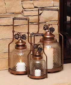 Look what I found on #zulily! Evergreen Copper Pinecone Lantern Set by Evergreen #zulilyfinds