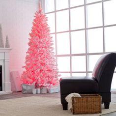 décoration de Noël 2014: sapin blanc et rose