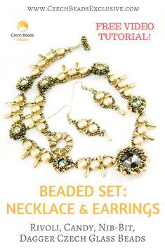 Rivoli, Candy, Nib-Bit, Dagger Czech Glass Beads - Beaded Set: Necklace & Earrings Free Video Pattern Tutorial | SAVE it! | CzechBeadsExclusive.com #czechbeadsexclusive #czechbeads