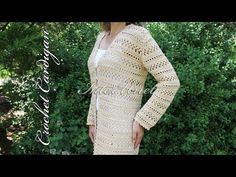 Long-sleeve cardigan jacket – crochet long top - YouTube