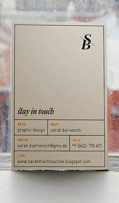 Sara Buervenich letterpress business cards via Lovely Stationery