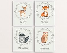 Woodland Nursery Set, Deer Poster, Fox Print, Owl Printable, Racoon Art, Woodland Printables, Be Kind, Be Clever, Stay Curious, Grow Wise by TheSunshineGarden on Etsy https://www.etsy.com/uk/listing/280766420/woodland-nursery-set-deer-poster-fox
