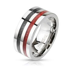Men's West Coast Jewelry Black and Red Carbon Fiber Inlay Wide Band... (22 BGN) ❤ liked on Polyvore featuring men's fashion, men's jewelry, men's rings, jewelry & watches, rings, silver, mens stainless steel rings, mens watches jewelry, mens rings and mens wide band rings