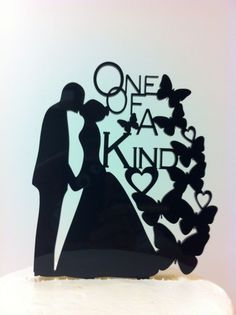 Silhouette Bride & Groom Kissing One of a Kind Butterfly Acrylic Wedding  Topper #CountryRoad