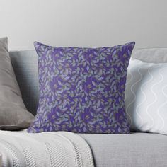 Floral Illustrations, Designer Throw Pillows, Pillow Design, Sell Your Art, Flower Patterns, Watercolor Art, Floral Design, Purple, Printed