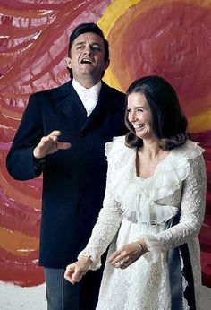A fun picture of Johnny & June, taken @ a photo shoot for the 'Johnny Cash Show' in 1969.