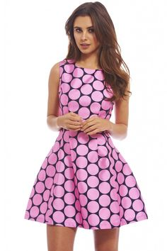 UPTOWN POLKA DOT SKATER DRESS