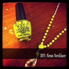 diy neon necklace with nail polish