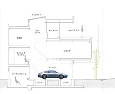 Residential elevation drawing with carport.