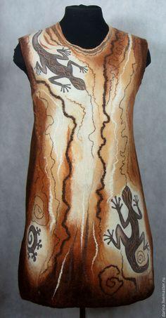 """Купить туника валяная """"Мудрая саламандра"""" - коричневый, рисунок, туника валяная…"""