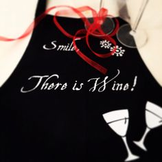 Smile There is Wine Full Apron Black and White by gojeko on Etsy, $10.00