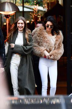 Kendall and Gigi Coordinate to Shop in Paris - HarpersBAZAAR.com