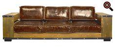 Modernes Sofa – Designer Couch fürs Wohnzimmer aus Leder – schwarz, braun, weiß