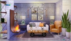 Sims 4 CC's - The Best: Fusion Living Set by Simcredible Designs