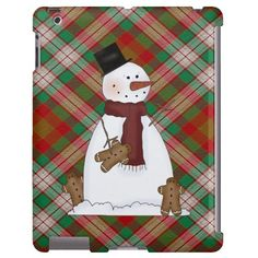 Christmas Snowman iPad case Barely there