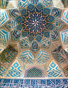 Tilework in Kerman's Jameh Mosque, Iran. The mosque dates from the century. Architecture Unique, Persian Architecture, Islamic Tiles, Islamic Art, Islamic Patterns, Beautiful Mosques, Iranian Art, Islamic World, Place Of Worship