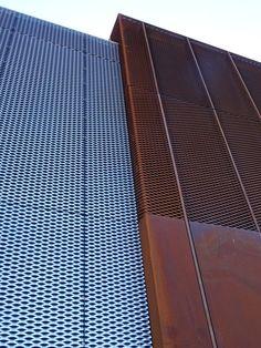 James and Taylor CorTen and Eyetech Mesh Metal Facade, Metal Cladding, Metal Siding, Metal Panels, Metal Mesh Screen, Building Skin, Metal Building Homes, Building Facade, Building Design