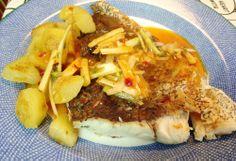 Corvina con salsa picante de cebolla