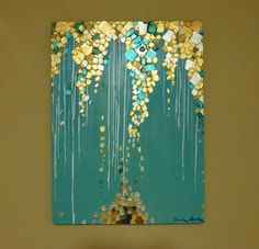 Original Modern Abstract Painting - Metallic Textured Painting 18 x 24 Inches - Aqua Teal Palette Knife Painting - Gallery Wrap Canvas. $235.00, via Etsy.:
