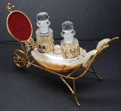 Antique French Napoleon III Abalone Gilt Doré Porte Montre/Watch Holder/Scent Bottle Carriage