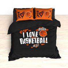Personalized Basketball Bedding, I Love Basketball Hearts, Custom Duvet or Comforter Sets for Basketball Themed Bedroom