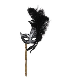 Black Feather Fancy Stick Mask