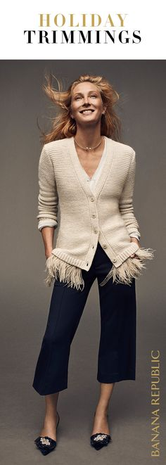 Feather trim detail makes this the sweater of the season to brighten up work and make an entrance at every holiday party. Banana Republic's silk cashmere v-neck is stand out special for the most wonderful time of the year.