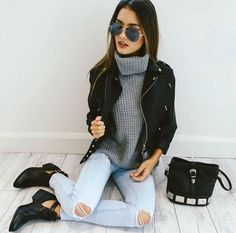Outfit goals ✔️ Our 'Stare Down' sunglasses + 'Ashley' jeans + 'Roll It' knit + 'Rocker Chic' jacket are perf together! Shop it now via the link in our bio ☝️ Boho Outfits, Hipster Outfits, Casual Outfits, Fashion Outfits, Fashion Trends, Hipster Fashion, Korean Outfits, 90s Fashion, Fall Fashion