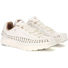 Nike Mayfly Woven Faux-Suede Sneakers ($135) ❤ liked on Polyvore featuring shoes, sneakers, white, white shoes, woven sneakers, faux suede shoes, nike trainers and nike footwear