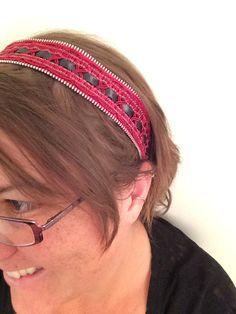 Zipper Headband Wine Red Headband  made from a zipper by AngleAh, $18.00