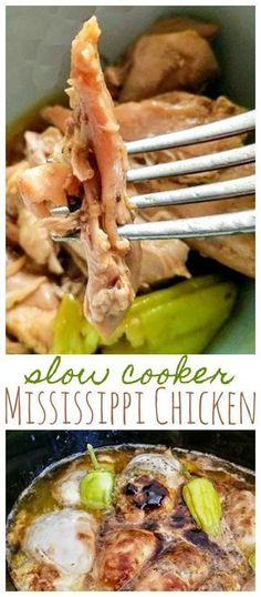 Slow Cooker Mississippi Chicken is LOADED with incredible flavors. It's so easy to make right in your slow cooker!This Slow Cooker Mississippi Chicken is LOADED with incredible flavors. It's so easy to make right in your slow cooker! Slow Cooker Huhn, Crock Pot Slow Cooker, Slow Cooker Recipes, Crockpot Recipes, Cooking Recipes, Healthy Recipes, Crockpot Dishes, Crockpot Chicken Healthy, Frozen Chicken In Crockpot